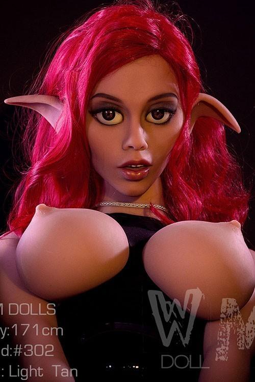 Eldora 171CM 5FT6 Cheap Red Hair Elf Ear Anime Sex Doll